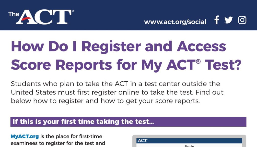Infographic: How to register for the ACT and access your score reports (including previous ACT scores)